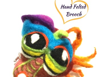 Needle Felted Fantasy Brooch, Designer Brooch, Dragon Girl Brooch, Versatile Pendant or  Fridge Magnet, One- of- a-Kind Creation