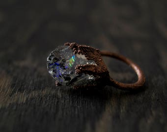 7.75/ Crystal Agate Inspired Chunky Electroformed Resin Ring