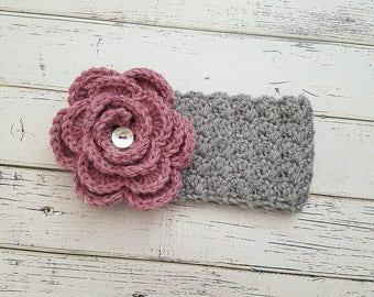 Girls Ear Warmer, Baby Girl Ear Warmer, Crochet Ear Warmer, Flower Headband, Crochet Head wrap, Kids Headband, READY TO SHIP!