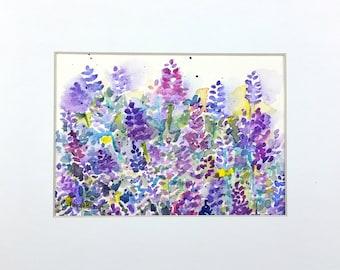 Lavender Art, Lavender Watercolor, Lavender Painting, Original Watercolor, Floral Watercolor, Home Decor, Gift