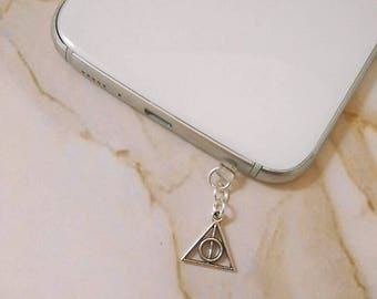 Harry Potter deathly hallows anti dust plug charm - phone charm, anti-dust plug, headphone plug for phone and tablet