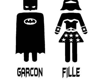 """Garcon and Fille Superhero Batman & Wonder Woman Bathroom Door or Bedroom Door Decal 4"""".5x5"""""""