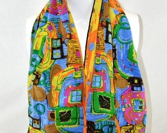 Silk Scarf from Bursa, Turkey: Colourful Vibrant Pattern