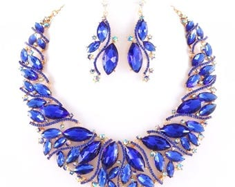 Dazzling Blue Marquis Rhinestone Crystal Evening Statement Silver Chain Necklace  Earrings Set