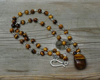 Tiger Eye Hand Wired Pendant Necklace ~ Semi Precious Stones ~ Stone Jewelry ~ One of a Kind ~ Nugget Pendant ~ Nature Lover Gift ~ Teacher