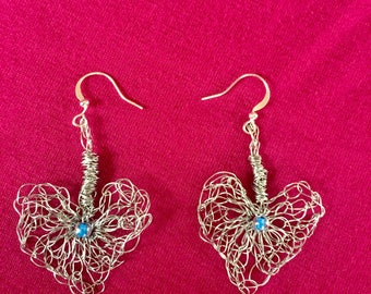 Crochet Wire Earrings Wire Heart Earrings Crochet Heart Earrings Crochet Wire Jewelry