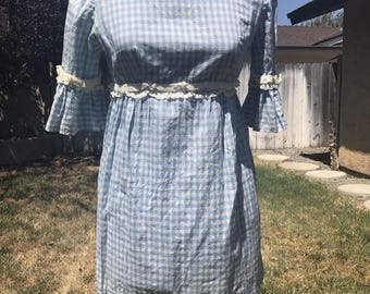 Vintage 1960s/1970s Baby Blue & White GINGHAM BABYDOLL dress! size xs/s DORORTHY!!