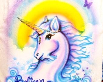 Unicorn shirt, unicorn art, airbrush unicorn art, personalized tshirts, kids clothing, custom kids clothing