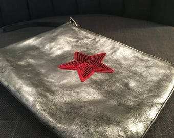 Distressed Silver Clutch Bag with Star Embellishment