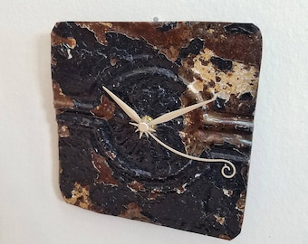 Seconds count -Salvaged  ceiling tin tile clock unique wall decor
