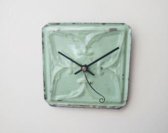 Spring 2018 pastel colored vintage ceiling tin tile clock.