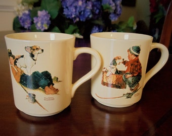 "Vintage Norman Rockwell Museum Cups Set of 2, Collectible Porcelain ""A Boy and His Dog"" Four Seasons Mug Collection 2 Coffee/Tee Cups, 1984"