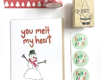winter is coming card, snowman notecard, funny anniversary card, winter watercolor card, you melt my heart, love note, card for boyfriend