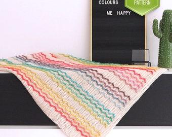 Crochet blanket -  Rainbow blanket - Wave blanket - Ripple blanket -  Baby afhan - Rainbow baby blanket - PDF crochet pattern