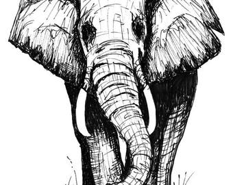 Elephant Sketch Print, Elephant wall art, Elephant Print, home decor, gift idea, Elephant, art, black and white