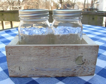 Cream Centerpiece Box - Rustic Cedar Mason Jar Holder - Table Centerpiece, Organizer, Wedding
