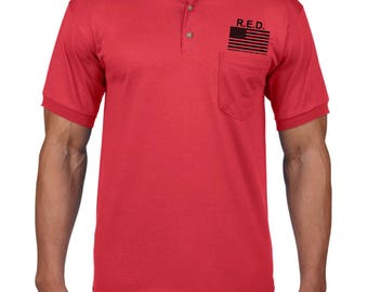 American Flag RED Remember Everyone Deployed Military Custom Polo with pocket 8900