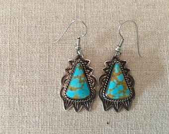 Vintage Rudy Willie Turquoise Sterling Silver Earrings