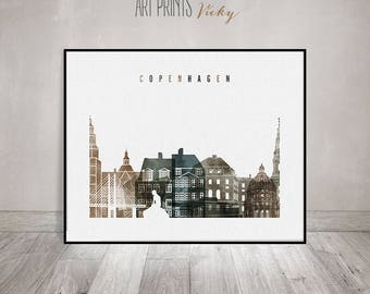 Copenhagen art print, Copenhagen wall art, watercolor poster, skyline, wall art, travel decor, Gift, Denmark, Home Decor, ArtPrintsVicky