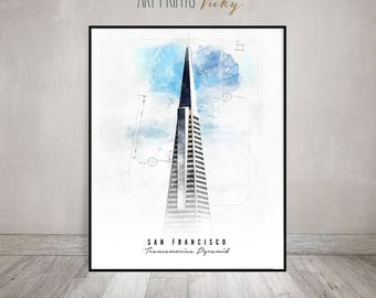 San Francisco Transamerica Pyramid Poster Contemporary Art Print   ArtPrintsVicky.com