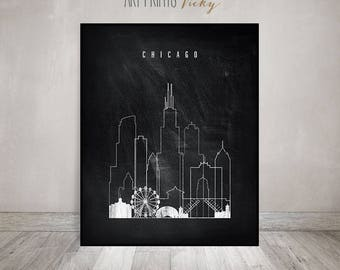 Wall art Chicago, Chicago print, Black and white Poster, Wall art, Illinois, Chicago skyline, chalkboard art, Travel Gift,  ArtPrintsVicky