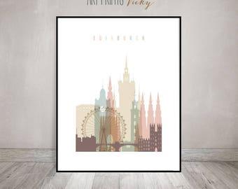 Edinburgh Scotland Print Pastel Vertical Skyline Poster | ArtPrintsVicky.com