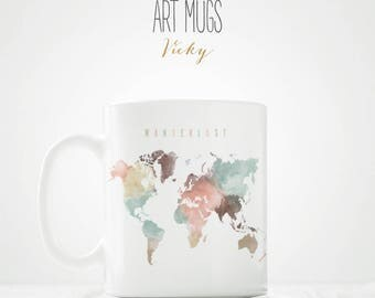 Wanderlust World Map Coffee Mug - ArtPrintsVicky.com