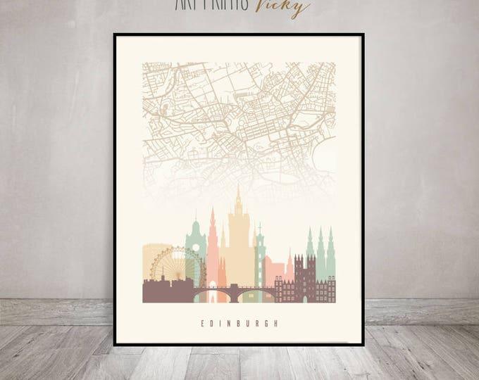 Edinburgh map, wall art, print, Edinburgh skyline Poster, City map, Travel gift, Scotland, Typography art, Home Decor, ArtPrintsVicky.