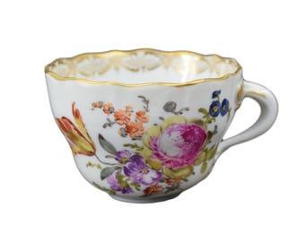 Meissen Vintage porcelaine Floral thé tasse à café - jante d'or - Cafe au Lait Petit Dejeuner - porcelaine de Meissen allemand
