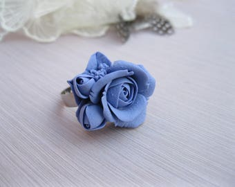 Wife gift-for-women Flower ring Polymer clay ring Anniversary ring Dainty ring Romantic ring for her Purple ring Delicate ring Rose ring