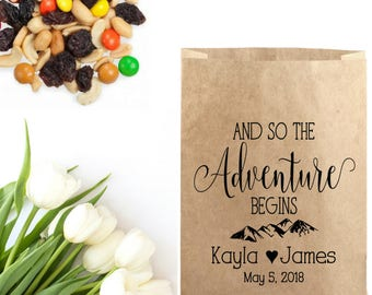 And So The Adventure Begins - Trail Mix Bag Stamp - Mountain Wedding - Rustic Wedding Favors Bag - Summer Wedding Cookie Bags Rubber Stamp