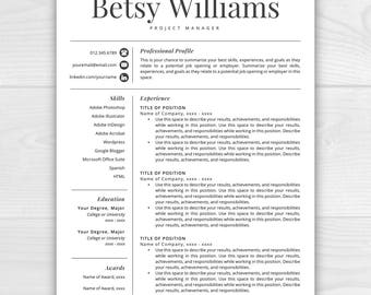 resume template etsy - Professional Resume Free