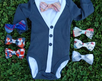 Baby Boy Cardigan and Bow tie set