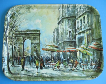 Vintage French Fiberglass Serving Tray ADT Trays Paris Design Made in France Arc de Triomphe Delgrün Impressionist
