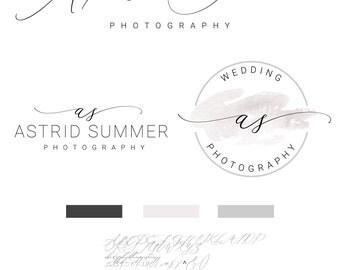 Calligraphy Logo, Photography Logo, Watercolor Logo Design, Branding kit, Logo,  Premade,Branding Package, Watermark
