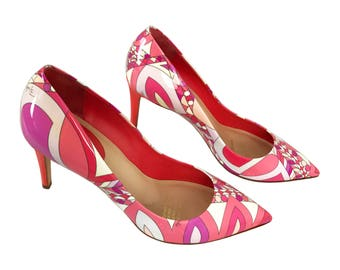 EMILIO PUCCI Vintage Pink Psychedelic Print Heels Mod 1960s Style graphic SZ 39