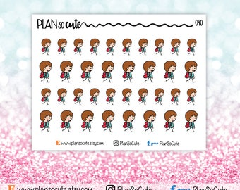 Boy goes back to school Stickers, Planner Stickers -040