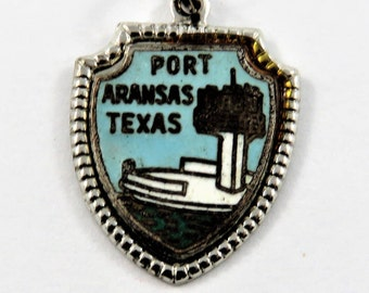 Enameled Port Arkansas Texas Travel Shield Sterling Silver Charm of Pendant.