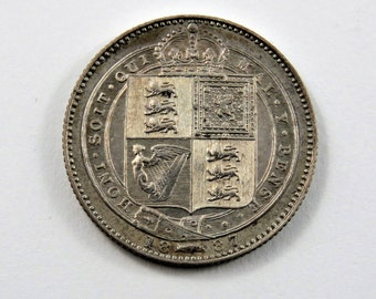 Great Britain 1887 Sterling Silver One Shilling Coin.