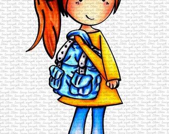 Mia Going to School Digital Stamp by Sasayaki Glitter