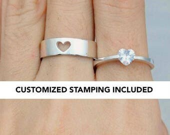 His and Her Promise Rings, Promise Rings For Couples, Promise Ring, Wedding Ring Set, Personalized, Couples Ring, Sterling Silver, Engraved