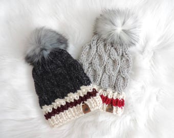 Sock Monkey Cable Knit Hat with Faux Fur Pom Pom