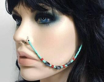Hematite Beaded Nose Chain - Nose Chain - Ear To Nose Chain - Hematite Jewelry - Statement Jewelry - Face Jewelry - Boho Body Jewelry