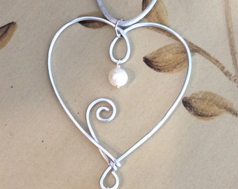 Aluminum Heart Necklace with White Freshwater Pearls