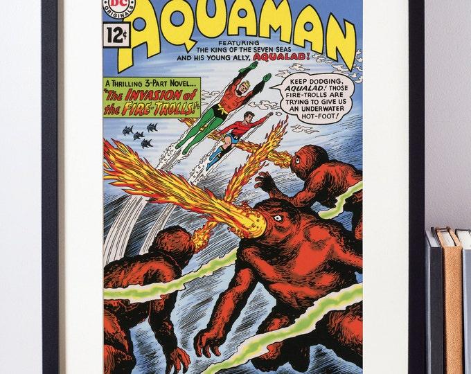DC Comics Art Print / Aquaman Poster / The Justice League / Superhero Print / Pop Art / Kids Decor / Geeky Boyfriend Gift / Aquaman Print