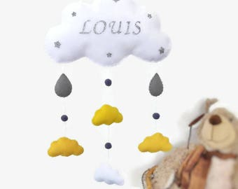 Baby felt mobile or wall decoration . Baby Cloud mobile for baby bedroom. Personalized baby mobile
