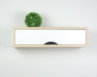 Minimalist Floating Entryway Shelf, Wall Cabinet with White Door, Retro Style Mid-Century Modern Style