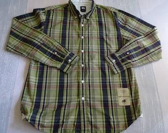 Vintage Med. Stussy L/S Button Up Shirt,Dark & Lt Olive,Orange Red,Black Plaid Checks