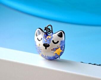 Adorable Ceramic Fox, Galaxy Fox Necklace, Milky Way Arctic Fox, Genuine Gold, Fox Pendant, Fox Jewelry, Cute Animal
