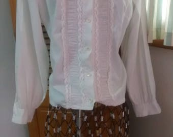 White Vintage Cotton Ruched Blouse